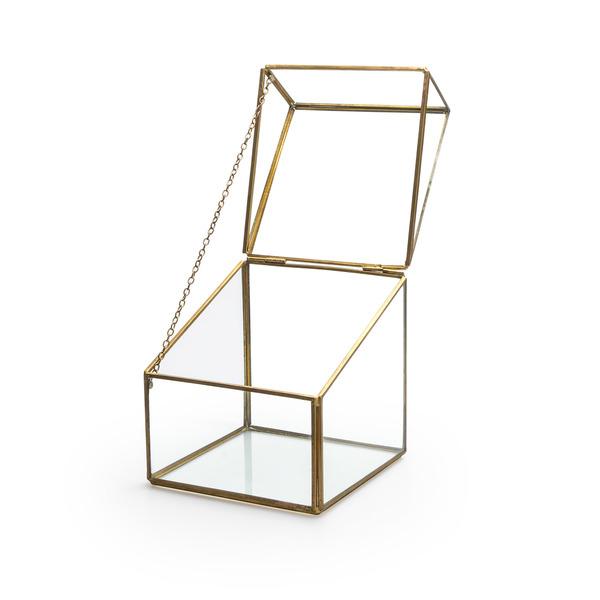 Caja deco Retro Color transparente / dorado Joyero Estilo nórdico y retro Vidrio/metal 13x13x13 cm
