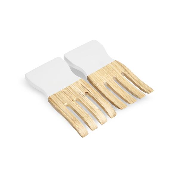 Set utensilios servir Marsella bambú, color natural y blanco brillante