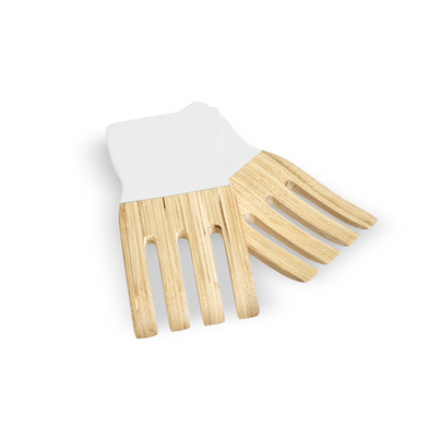 Set utensilios servir Marsella bambú, color natural y blanco brillante