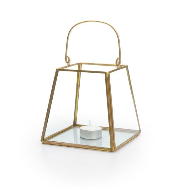 Farolillo Retro vidrio y metal, color transparente y dorado
