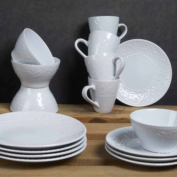 Set vajilla, 4 platos grandes Avignon gres, color blanco