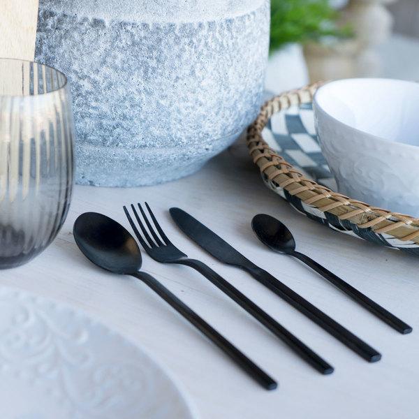 et 4 cubiertos Chic Table acero inoxidable, color negro, acabado mate, estilo de líneas rectas, últi