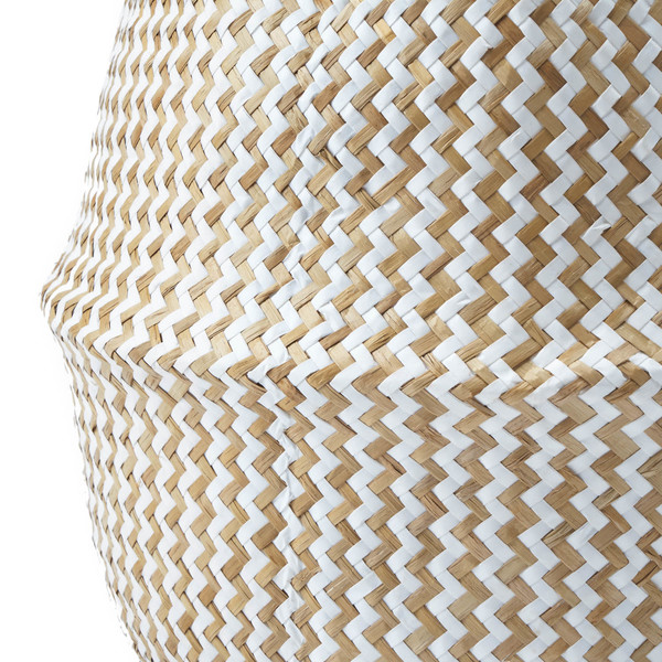 Cesto Belly paja, color natural y blanco