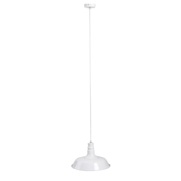 Lámpara colgar Factory metal, color blanco, estilo industrial, 27x35x35 cm