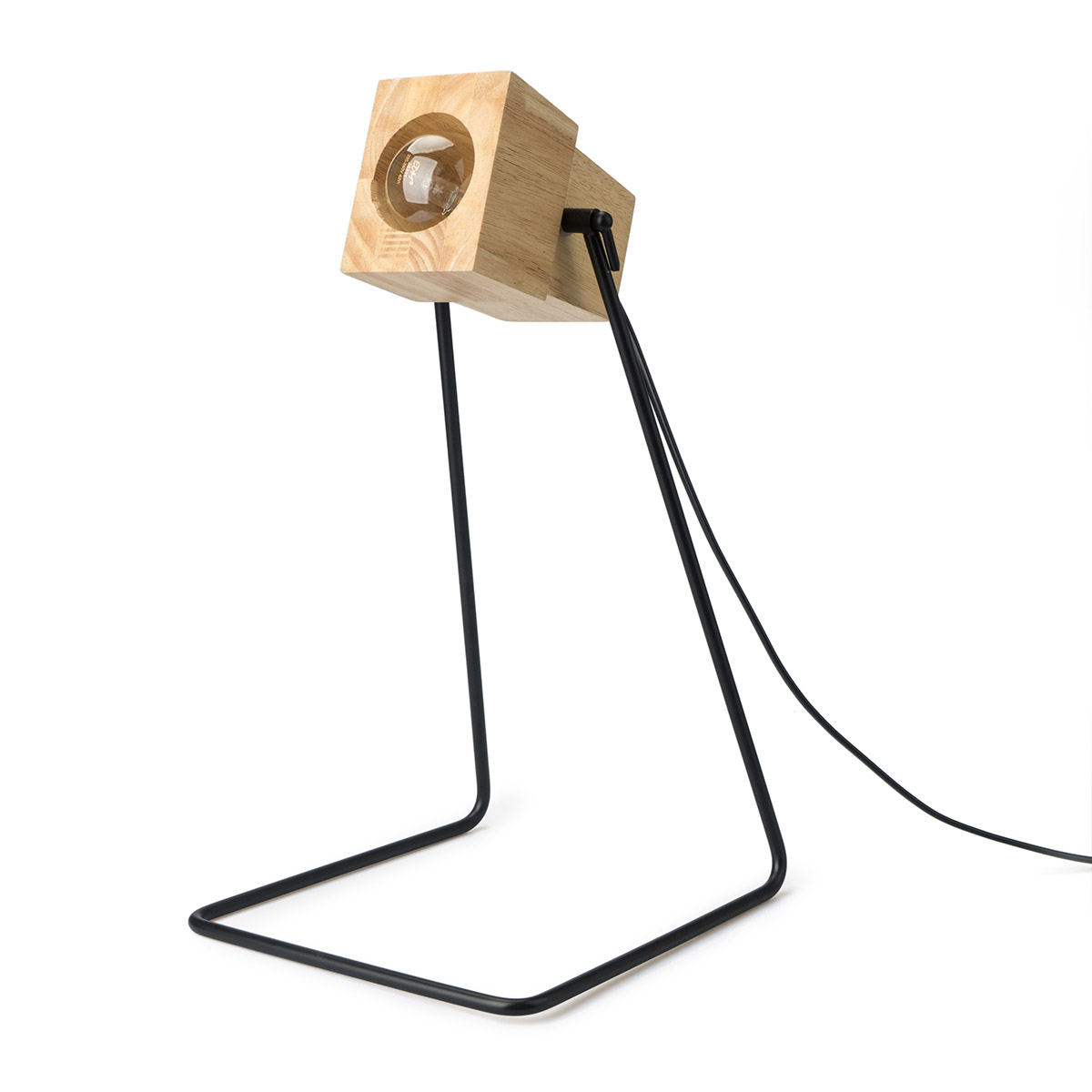 Table lamp Robot wood and metal, color Natural and black, industrial style, 40x23x24 cm