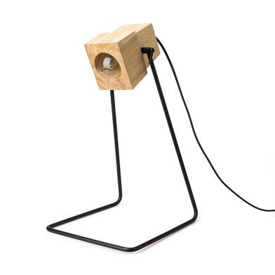 Lámpara de mesa Robot madera y metal, color natural y negro, estilo industrial, 40x23x24 cm