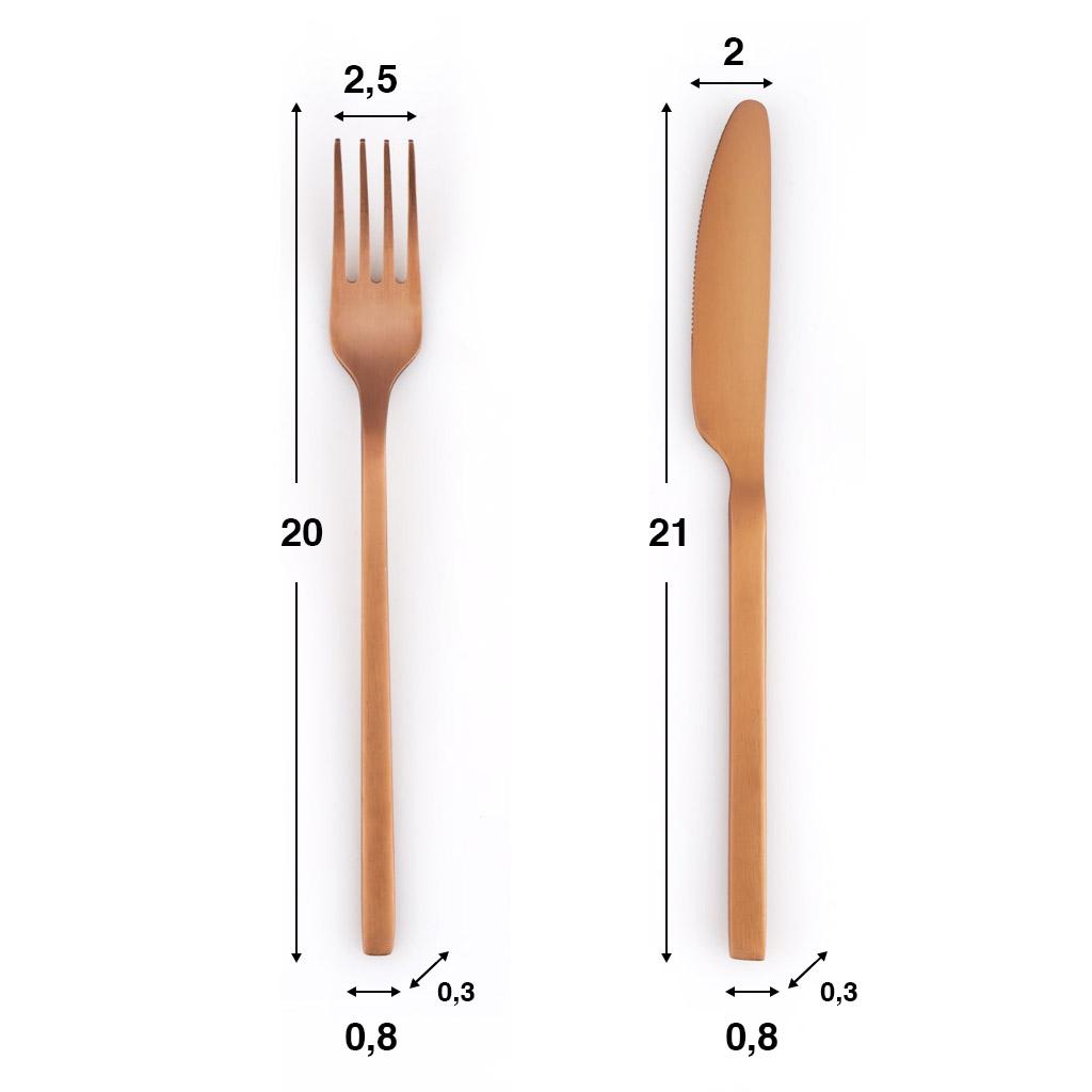 uego Cubiertos 4 en Acero Inoxidable Color Cobre Mate – Pack Set Cubertería Cuchara Tenedor Cuchillo
