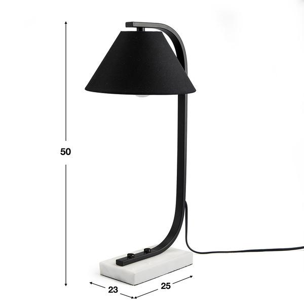 Lámpara de mesa Mr Jones má¡rmol , color negro y blanco, aire retro, 25x23x50 cm