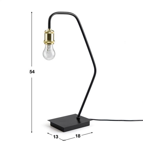 Lámpara de mesa Bulb metal, color dorado y negro, aire retro, 54x30x13cm