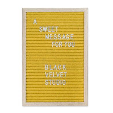 Letter board, Word wood and felt, color Natural and yellow