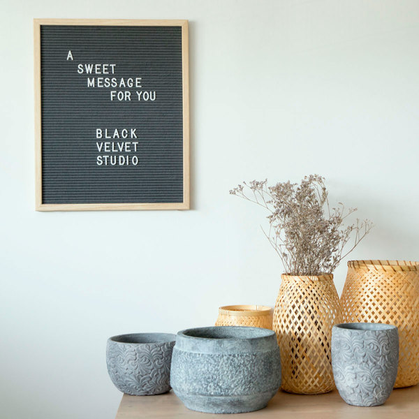 Tablero letras Word, madera y fieltro, color natural y gris, rectangular,149 letras, 50x40x3 cm