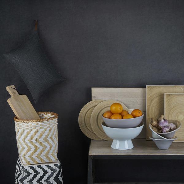 Frutero Cannes bambú, color gris claro brillante