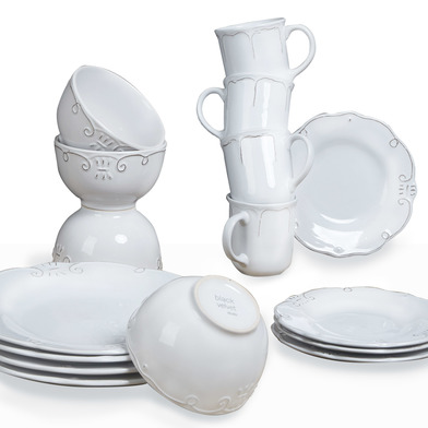 lack Velvet Studio Dinnerware set, 16 pieces Provenza White colour It engraved on white brings wealt