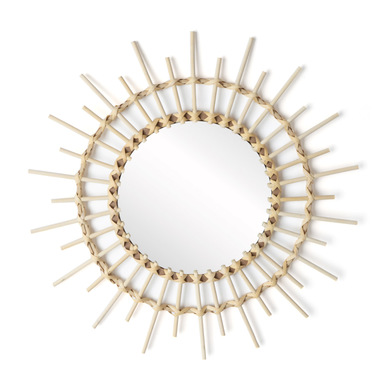 ound decorative Mirror, natural rattan, boho chic, nordic style, for hallway or bathroom, bamboo, na