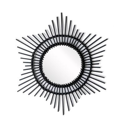 Espejo, Hawai ratán, color negro, Forma redonda