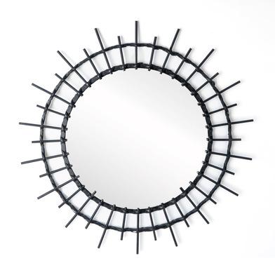Espejo, Aloha ratán, color negro, Forma redonda