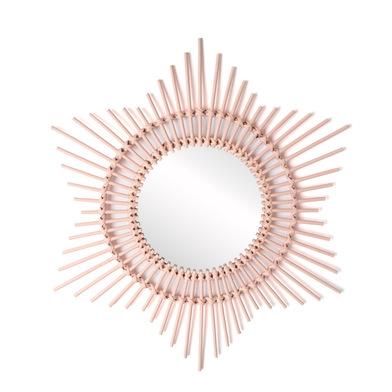 Espejo, Hawai ratán, color rosa, Forma redonda