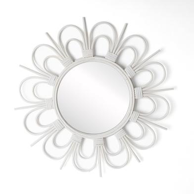 Espejo, Flor ratán, color blanco, Forma redonda