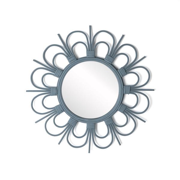 Espejo, Flor ratán, color gris, Forma redonda