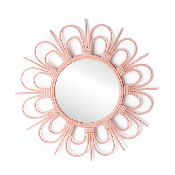 Mirror, Flor rattan, color pink
