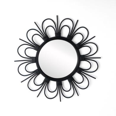 Espejo, Flor ratán, color negro, Forma redonda