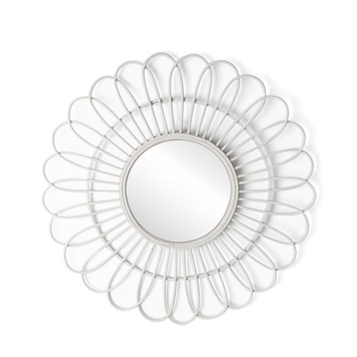 intage Round Decorative Wall Mirror - Natural Wood White BOHO CHIC - Hallway Bathroom Entrance - Etn