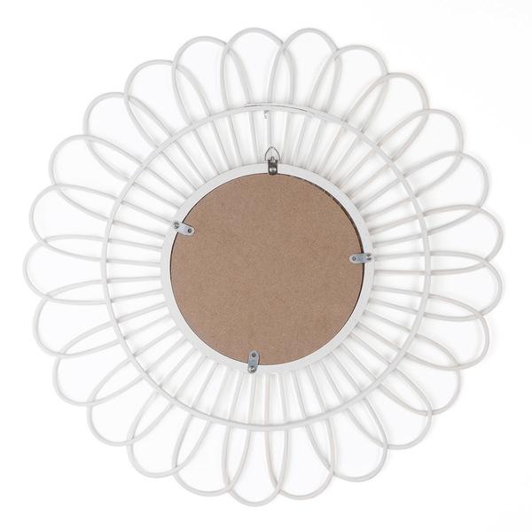 Espejo, Kahala ratán, color blanco, Forma redonda