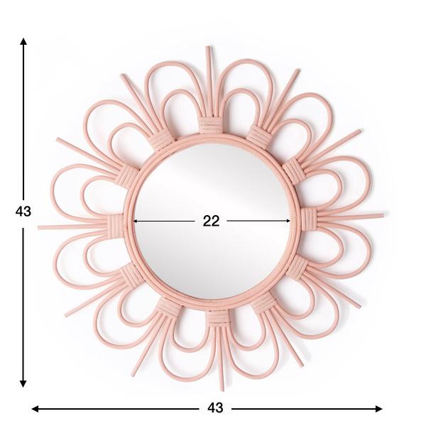 Espejo, Flor ratán, color rosa, Forma redonda