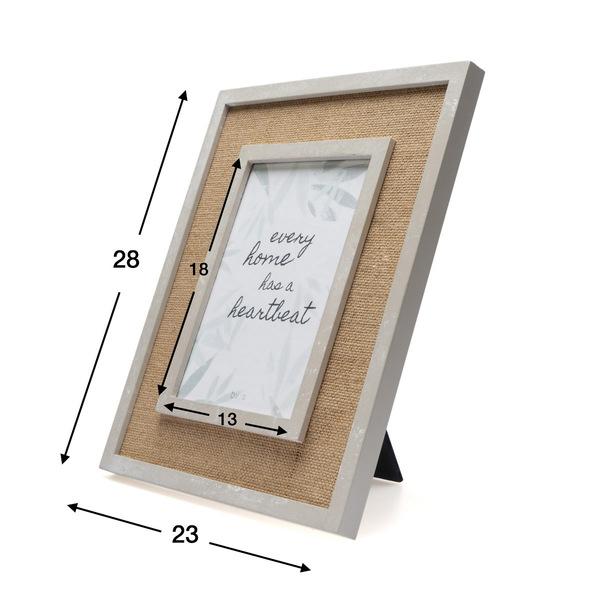 Marco Esparto, MDF pintado, color natural y blanco, tela de saco natural, rustic chic, 28x23x2 cm