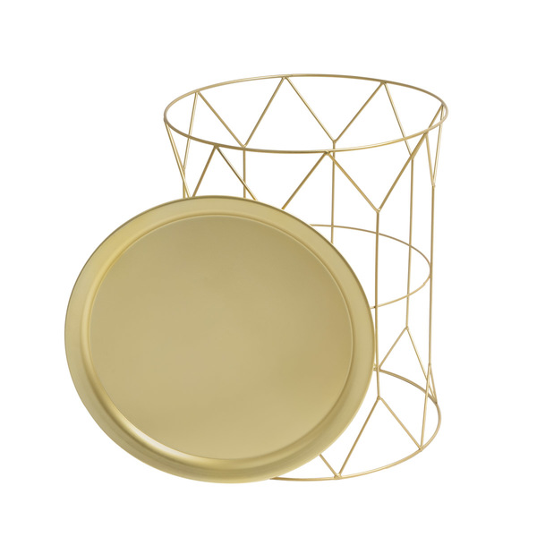 Mesa auxiliar Mr Smith, metal, color dorado, 52x43x43 cm