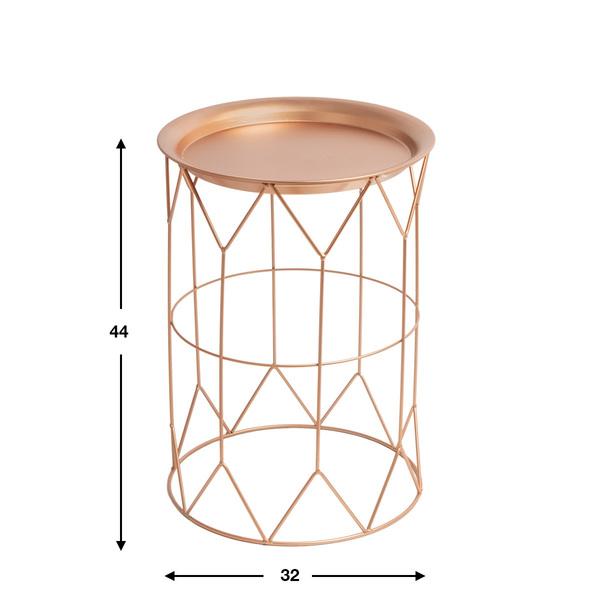 Mesa auxiliar Mr Smith, metal, color cobre, 44x32x32 cm