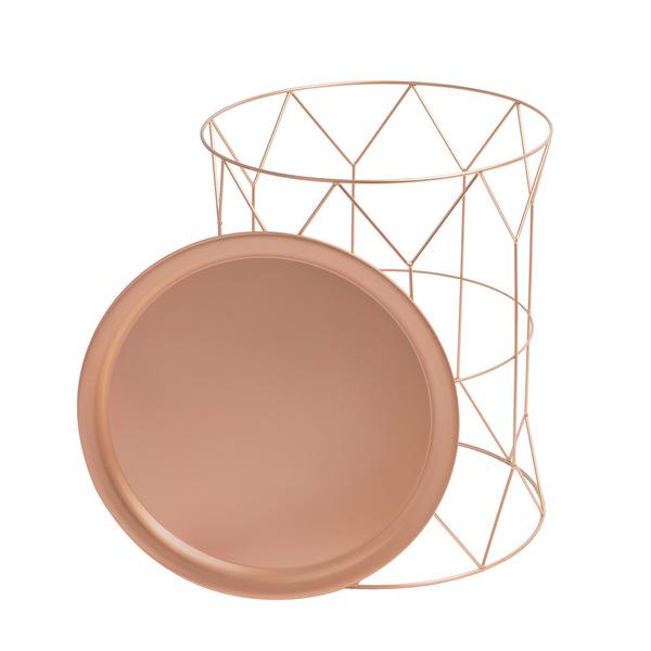 Set 2 mesas auxiliares Mr Smith, metal, color cobre, 52x43x43 cm