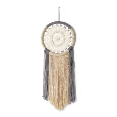 Dream catcher, Kirani cotton and plactic, color Natural and Gray