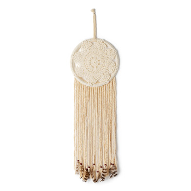 Dream catcher, Madhur cotton and feather and plastic, color natural