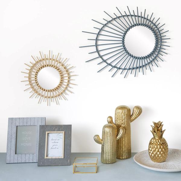 Figura Mrs Kaktus, cerámica, color dorado mate, L, cactus decorativo, 33x24x11 cm