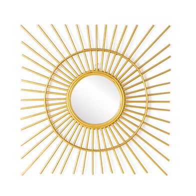 intage Decorative Wall Mirror Square Ratan Color Dorado - Ethnic Nordico - Beautiful light and elega