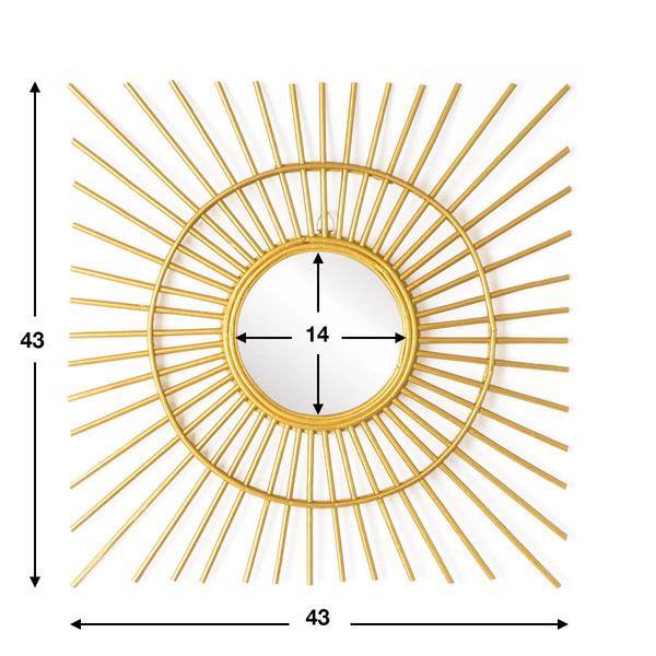 spejo Gold Ra, ratán, color dorado, medida del espejo 14x14 cm, medida exterior del conjunto 43x43x2