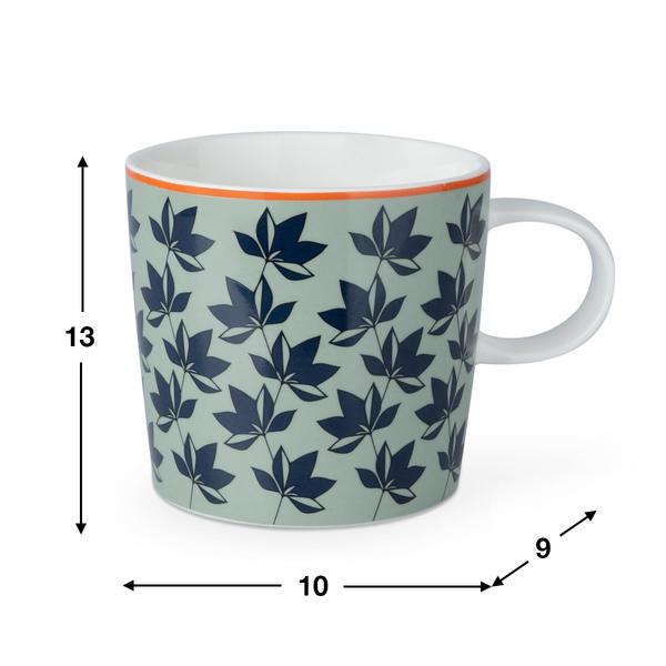 Taza Sindy, cerámica, color verde y azul, mug con estampado geométrico, 13x10x9 cm