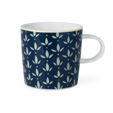 Mug Mary, ceramic, color White blue, mug with geometric pattern, 13x10x9 cm