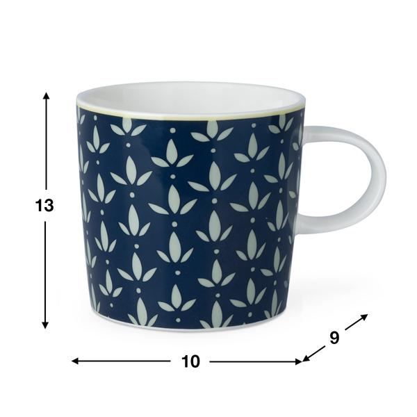 Taza Mary, cerámica, color azul y blanco, mug con estampado geométrico, 13x10x9 cm