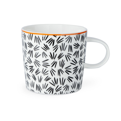 Mug Sally, ceramic, color white and black and red, mug with geometric pattern, 13x10x9 cm