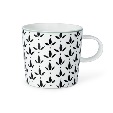 Mug Molly, ceramic, color white and black and gray, mug with geometric pattern, 13x10x9 cm