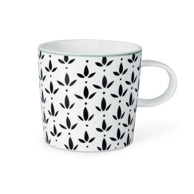 Taza Molly, cerámica, color blanco y negro y gris, mug con estampado geométrico, 13x10x9 cm