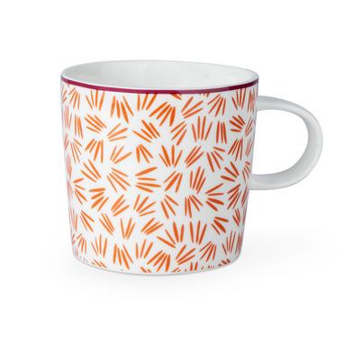 Taza Daisy, cerámica, color blanco y negro y rojo, mug con estampado geométrico, 13x10x9 cm