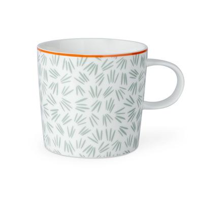Taza Lucy, cerámica, color blanco y gris y rojo, mug con estampado geométrico, 13x10x9 cm