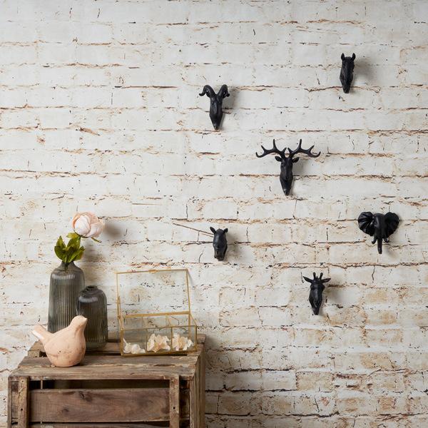 Colgador Rhino, poliresina, color negro, figura decorativa,10x5x11 cm