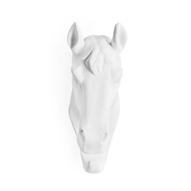Colgador Horse, poliresina, color blanco, figura decorativa,12x4x8 cm