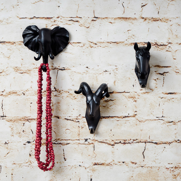 Colgador Horse, poliresina, color negro, fiura decorativa,12x4x8 cm