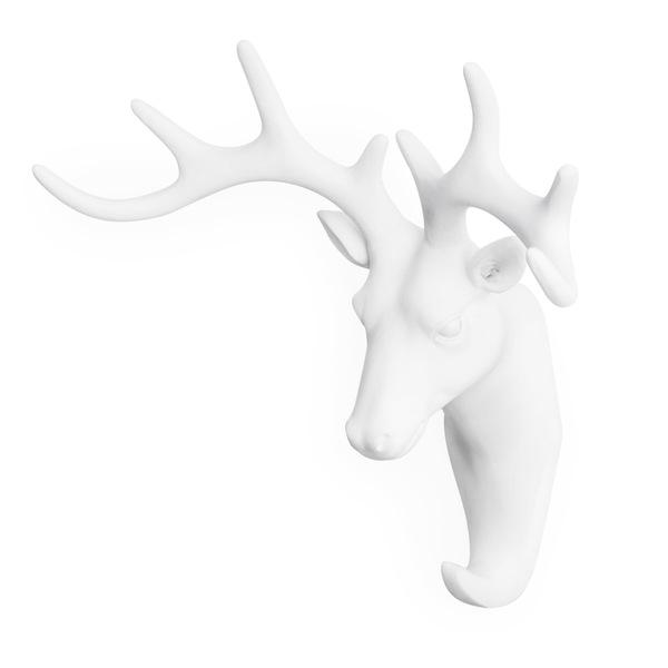 Colgador Deer, poliresina, color blanco, figura decorativa,18x17x7 cm