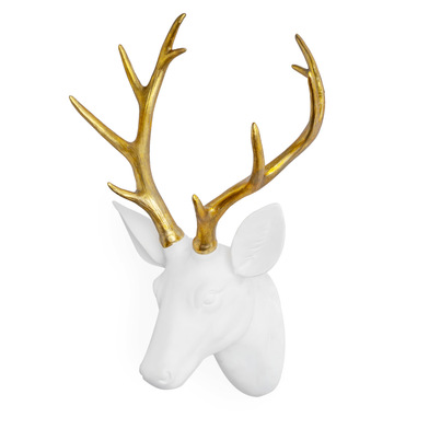 Head Deer, polyresin, color white and gold, decorative figure, 45x30x18 cm
